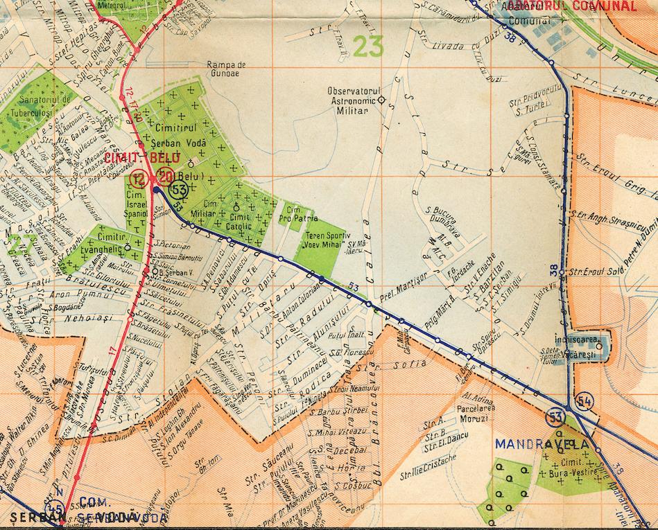 Sursa: București, Harta transporturilor 1938