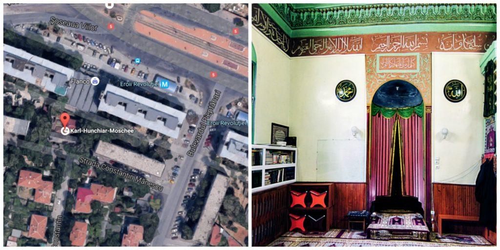 moscheea de la Pieptănari hartă și interior