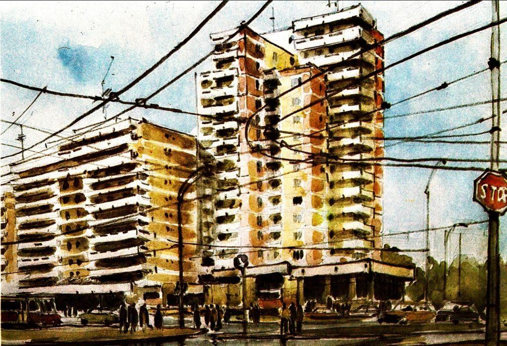 """Blocul Amiral de pe Metalurgiei, autor Gh. Leahu, """"Bucuresti. Arhitectura si culoare"""", 1989"""