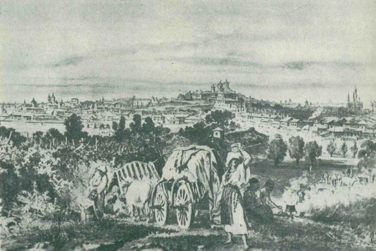 """Vedere panoramica a Bucurestiului din dealul Filaretului, desen de Preziosi. Sursa: """"Istoria Bucurestilor"""", de Constantin C. Giurescu"""
