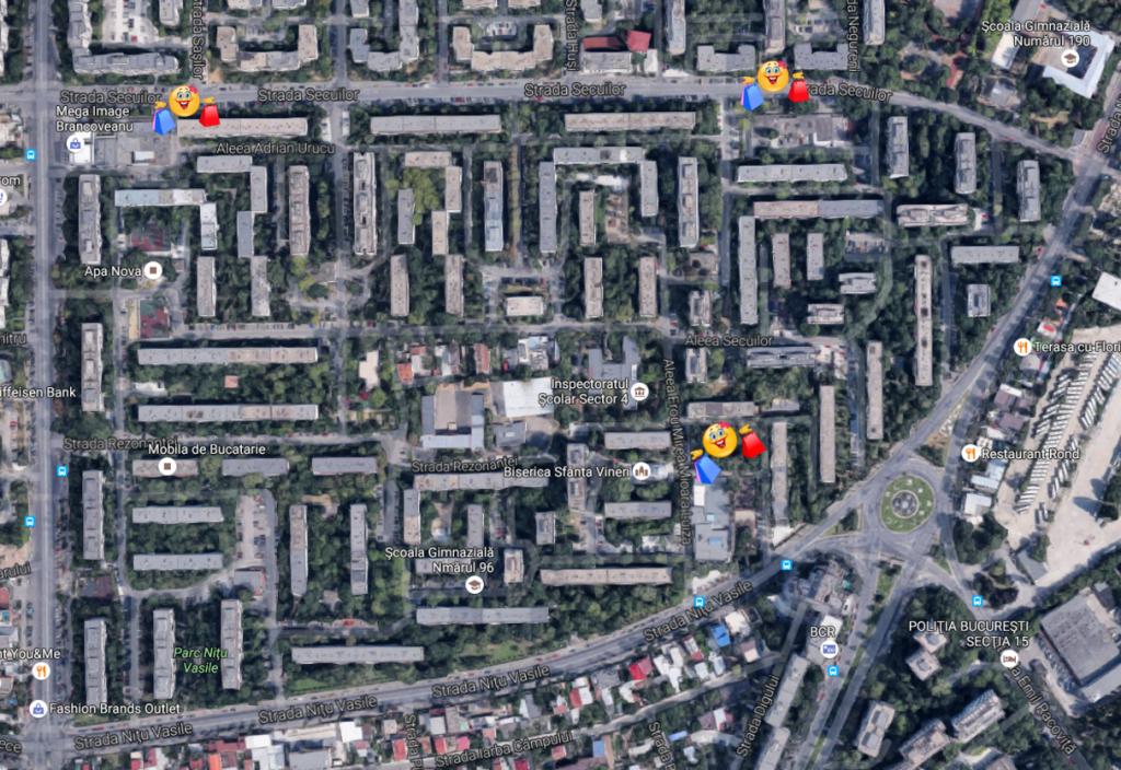 harta complexelor comerciale din microraionul Nitu Vasile
