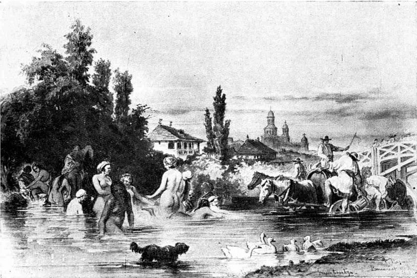"""Dambovita la 1869, acuarela de Preziosi Sursa: """"Bucurestii vechi, documente iconografice"""", vol. 1"""