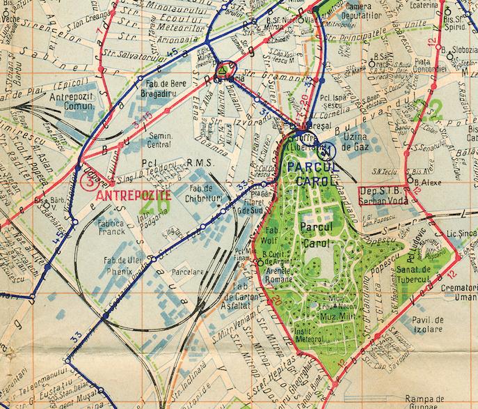 Zona industrială Filaret Rahova Sursa: București, harta transporturilor, 1938
