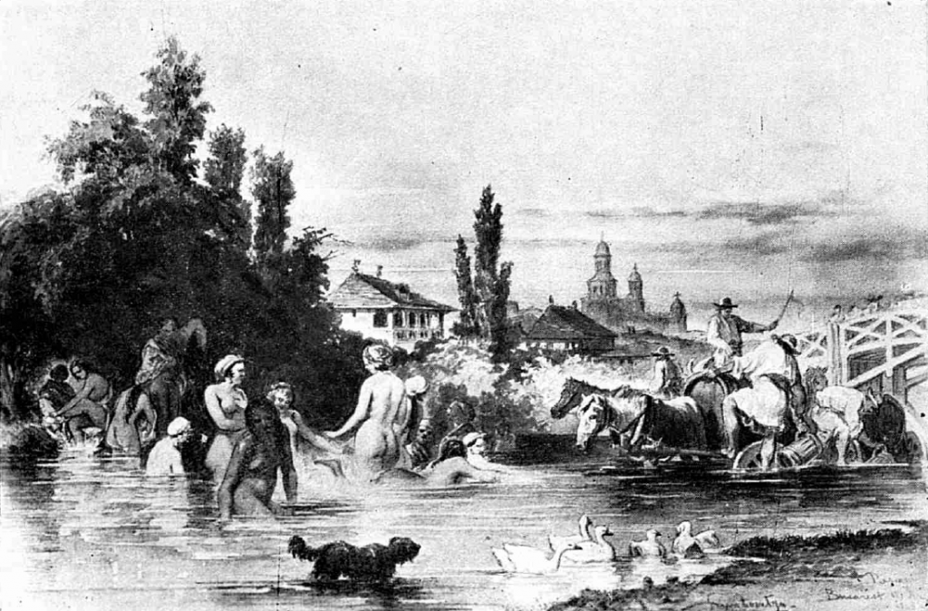 Dâmbovița 1869, acuarelă de Preziosi
