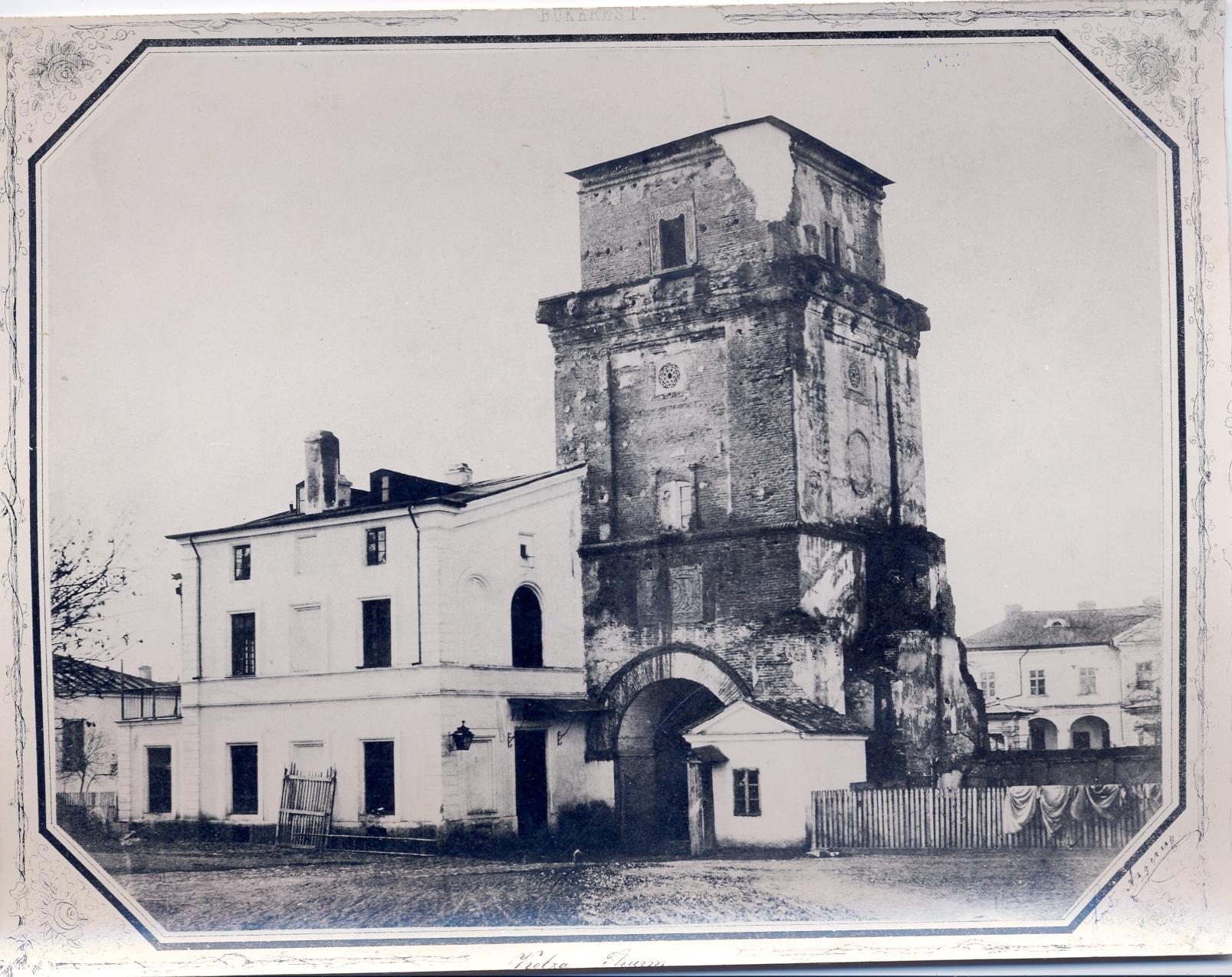 Vechiul Turn al Colței. Fundațiile acestuia se găsesc sub carosabilul bulevardului Brătianu.
