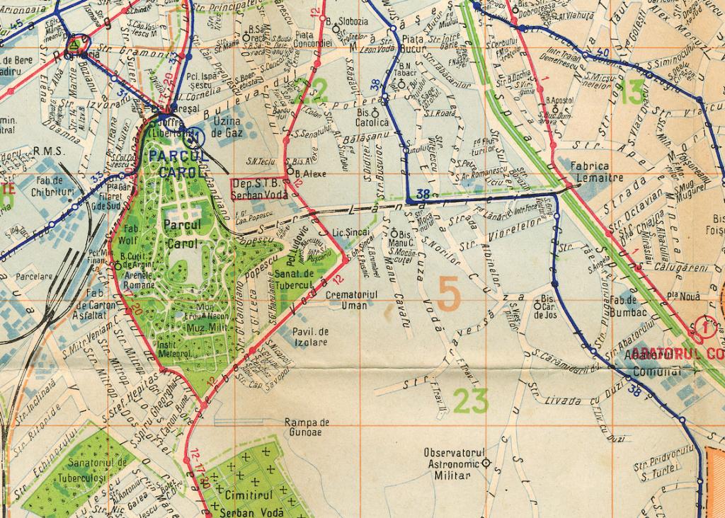 Linia de cale ferată care făcea legătura între Gara Filaret și Uzinele Lemaitre Sursa: București, Harta transporturilor, 1938