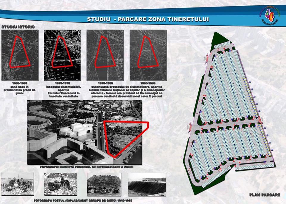 Planuri arhitecturale ale zone din anii '80 in care apare proiectul parcare la sol. Sursa: Ștefănel Dan Marin (Facebook)