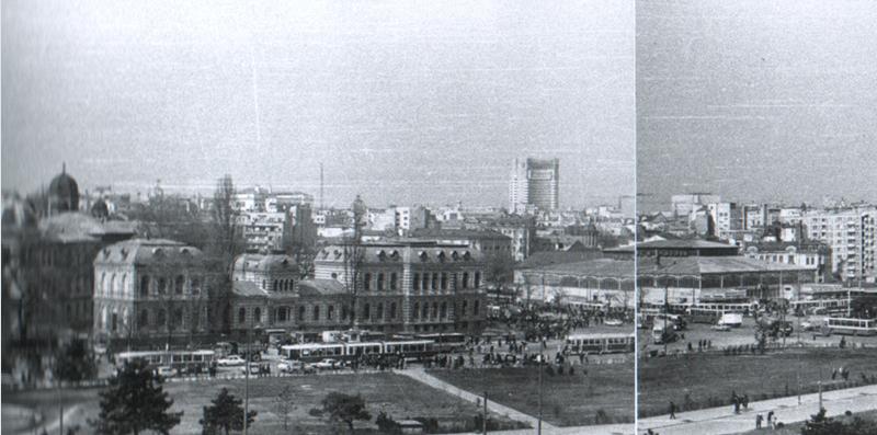"""Piața Unirii înainte de demolare 1984 Sursa: """"Bucuresti-Arhipelag. Demolarile anilor '80"""", autor Cristian Popescu, via tramclub.org, user rosetti61"""