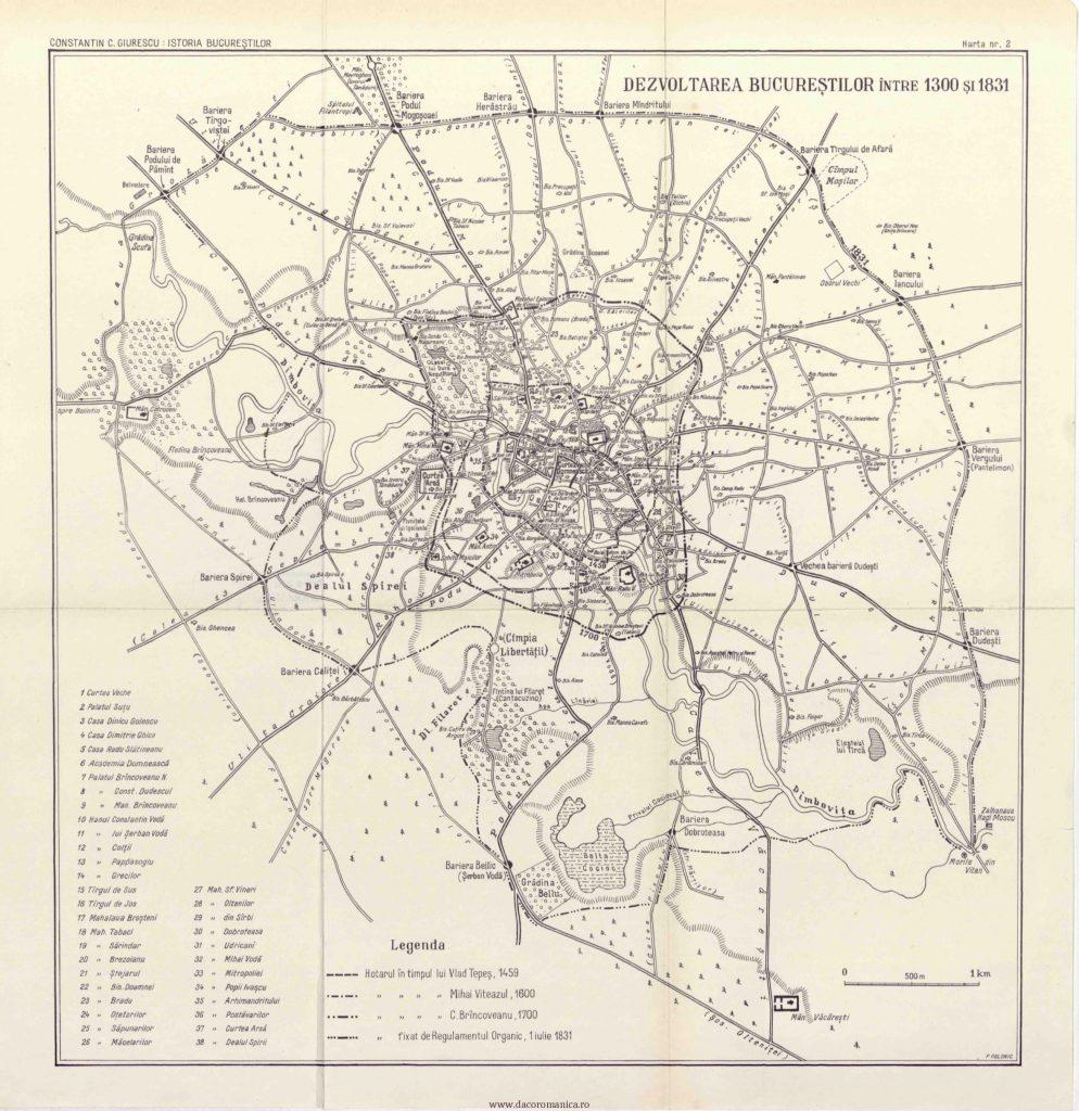 harta Bucuresti 1831