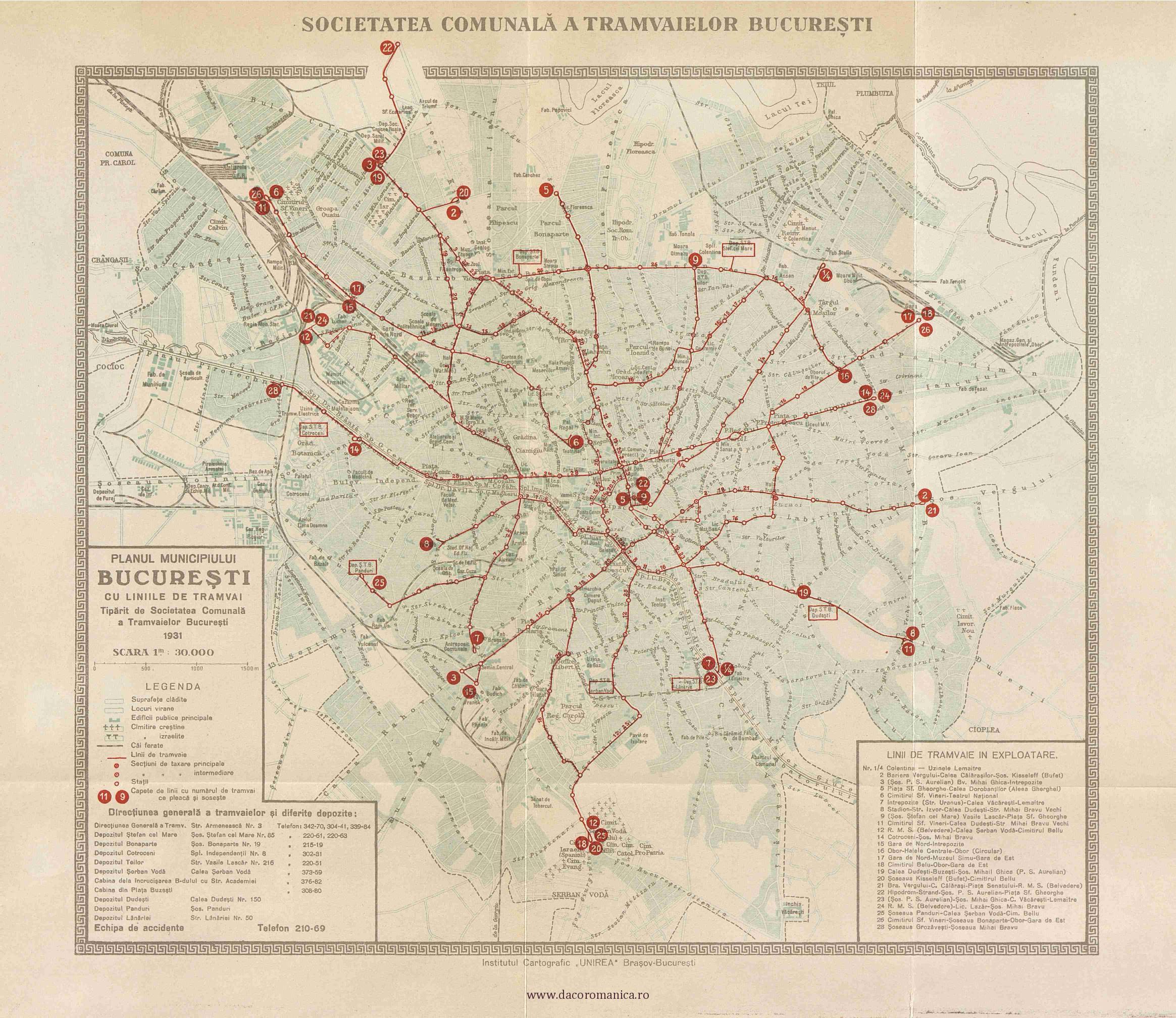 plan bucuresti linii tramvai