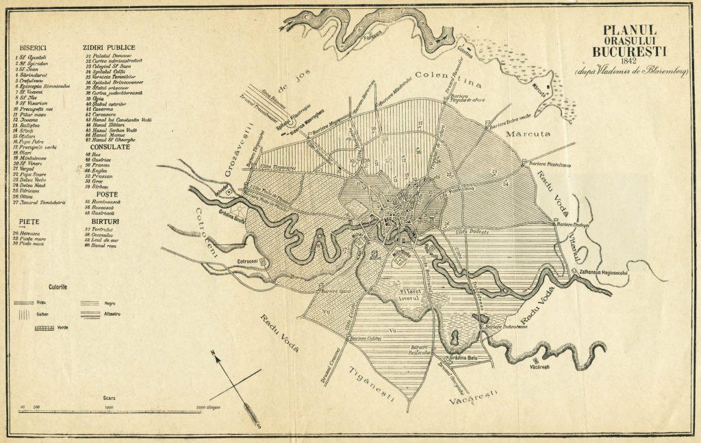 planul Bucureștiului cu vechile bariere