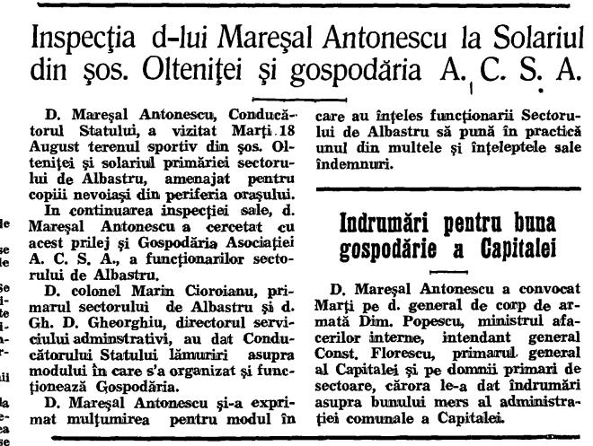 mareșalul Antonescu pe Olteniței